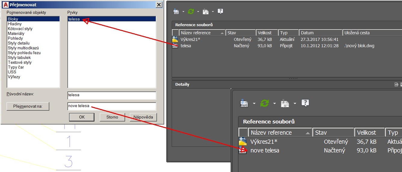 AutoCAD přejmenování referenčního souboru