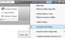 AutoCAD 2018 zvýraznění nových funkcí v menu