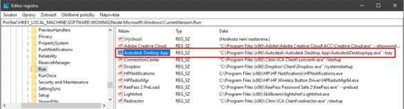 Autodesk editace registru